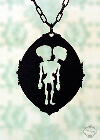 Conjoined Siamese Twins Necklace in black stainless steel