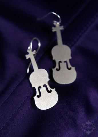Violin Fiddle Earrings in stainless steel