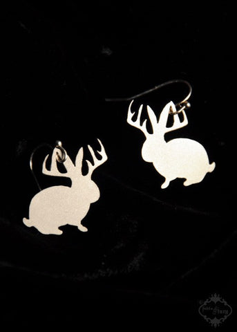 Jackalope Bunny with Antlers Earrings in silver stainless steel
