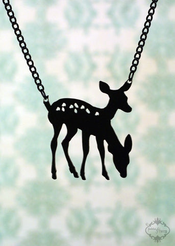 Conjoined Twin 2 Headed Deer Necklace in black stainless steel