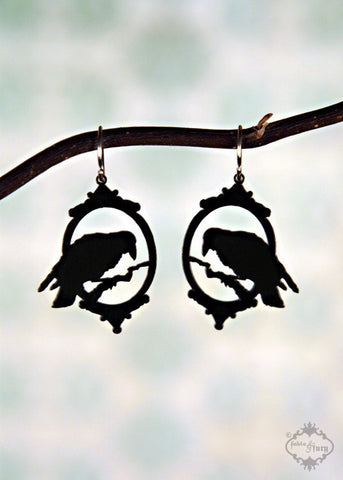 Victorian Black Raven Earrings in stainless steel