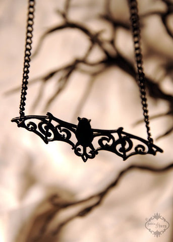 Filigree Victorian Bat necklace in black stainless steel