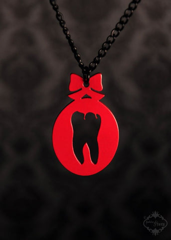 Red Sweet Tooth Necklace in stainless steel
