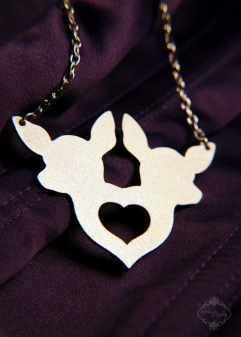 Twin Deer Heart Necklace in stainless steel
