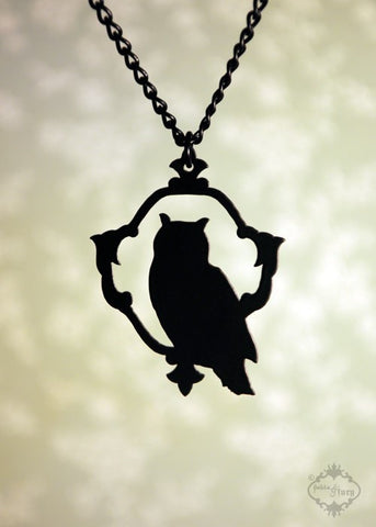 Woodland Owl Necklace in black stainless steel