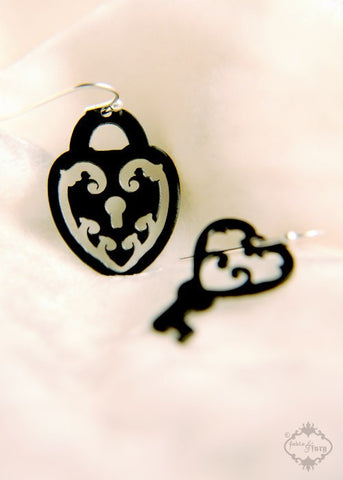 Lock and Skeleton Key asymmetrical earrings in black stainless steel