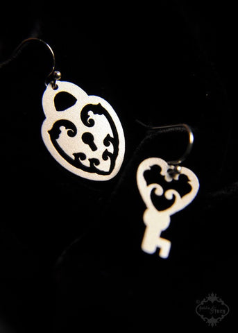 Ornate Heart Lock and Key asymmetrical earrings in silver stainless steel