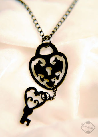 Key to Your Heart Ornate Lock and Key necklace in black stainless steel