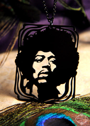 Jimi Hendrix Tribute Necklace in black stainless steel