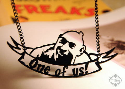 Schlitzie Sideshow Freak Necklace in black stainless steel