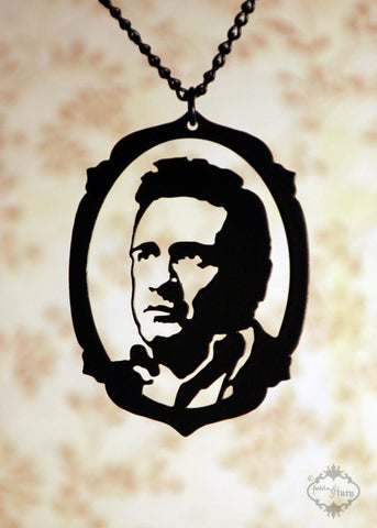 Johnny Cash Tribute Necklace in black stainless steel