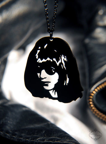 Joey Ramone Tribute Necklace in black stainless steel