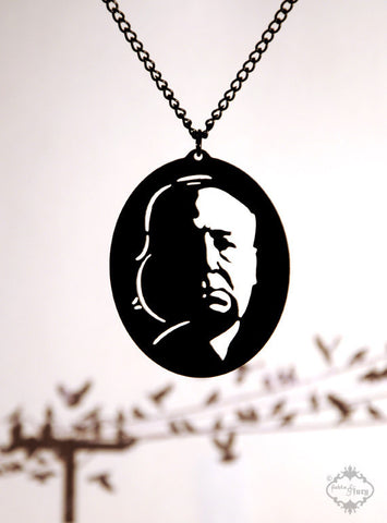 Alfred Hitchcock Tribute Necklace in black stainless steel
