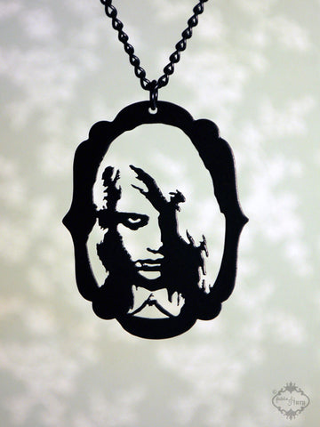 Zombie Girl Night of the Living Dead inspired Necklace in black stainless steel