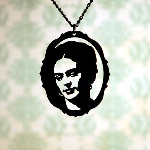 Frida Kahlo homage Necklace in black stainless steel