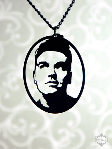 Morrissey Tribute Portrait Necklace in black stainless steel