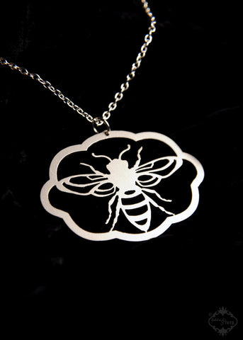 Large Honey Bee Silhouette Necklace in stainless steel