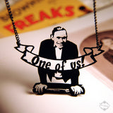 Johnny Eck Sideshow Freak Necklace in black stainless steel
