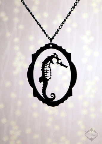 Framed Seahorse Necklace in black stainless steel