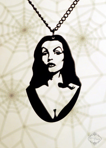 Vampira Homage Necklace in black stainless steel