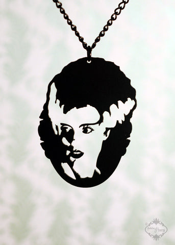 Bride of Frankenstein inspired Necklace in black stainless steel