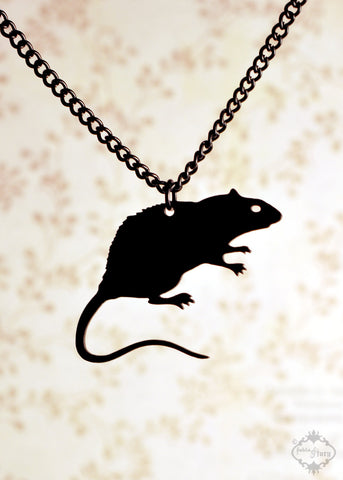 Rat necklace in black stainless steel