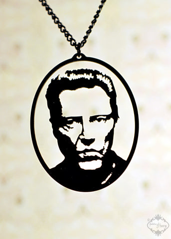 Christopher Walken Tribute Necklace in black stainless steel