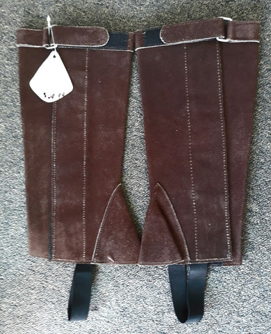 Blue Tag Suede leather Velcro closure chaps. Brown XS