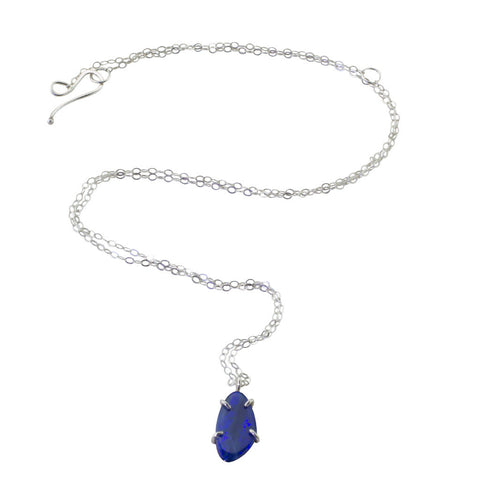 Blue Opal Pendant Silver Chain Necklace