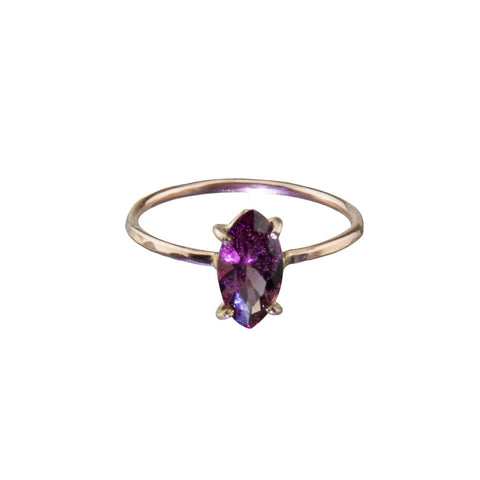 Amethyst Gemstone Hand Pounded Rose Gold Ring