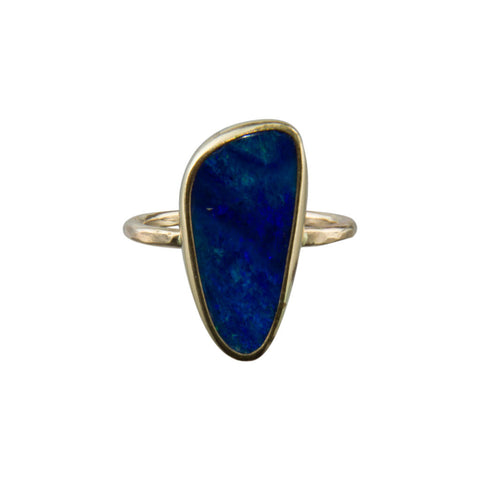 Deep Blue Opal Ring in 14k Gold