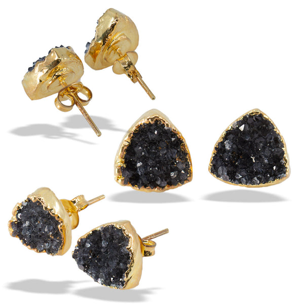 Druzy Crest Gold Sterling Silver Post Stud Earrings