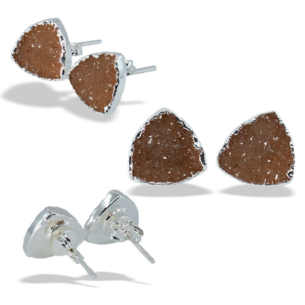 Druzy Crest Silver Sterling Silver Post Stud Earrings