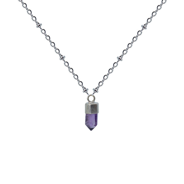Vera Cruz Amethyst Mini Bullet Point Silver Pendant Necklace