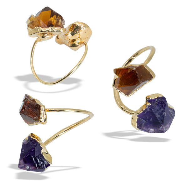 Amethyst Citrine Gold Infiniti Ring