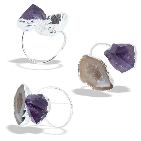 Amethyst Geode Silver Infiniti Ring