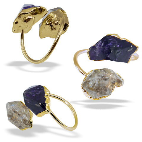 Amethyst Herkimer Diamond Gold Infiniti Ring