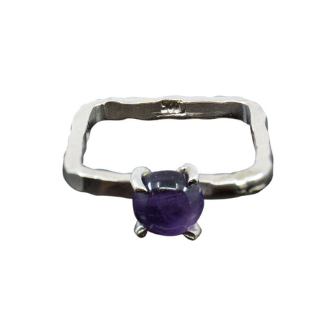 AMETHYST GEMSTONE SOLID STERLING SILVER SQUARE RING - SIZE 4