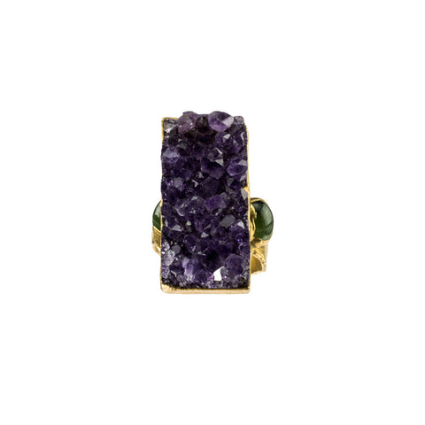 Amethyst and Double Eye Jade 18k Gold Open Wing Ring