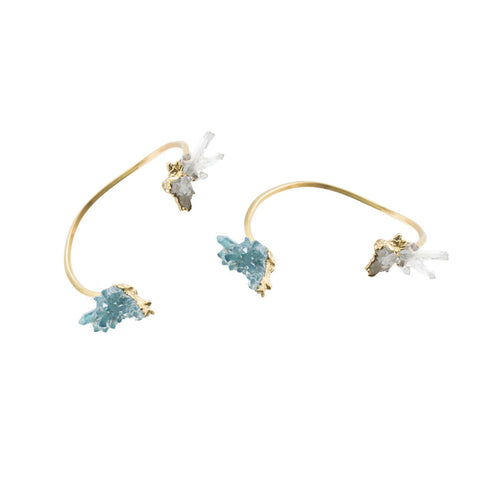Aqua Aura and Crystal Quartz 18 Karat Gold Bracelet
