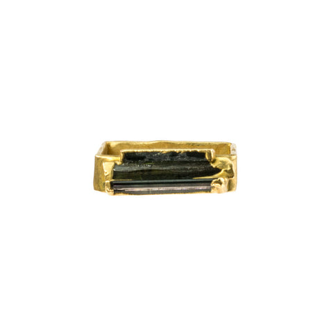 Black Thin Tourmaline Square 18 Karat Gold Ring