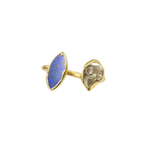 Blue Opal and Herkimer Gemstones 18 Karat Gold Infiniti Ring