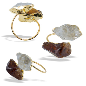 Citrine Herkimer Diamond Gold Infiniti Ring