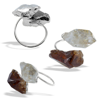 Citrine Herkimer Diamond Silver Infiniti Ring