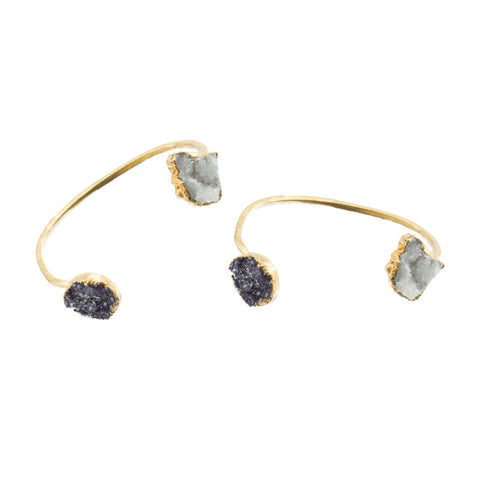 Raw Druzy and Crystal Cluster Quartz 18 Karat Bracelet