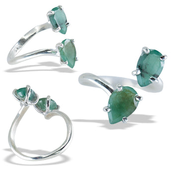 Double Emerald Fine Silver Infiniti Ring