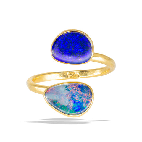 Double Black Opal Bezel 24K Gold Infiniti Fine Ring