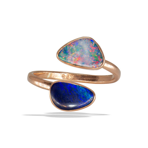 Double Black Opal Bezel  Rose Gold Infiniti Fine Ring