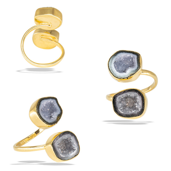 Double Geode Bezel Gold Infiniti Fine Ring