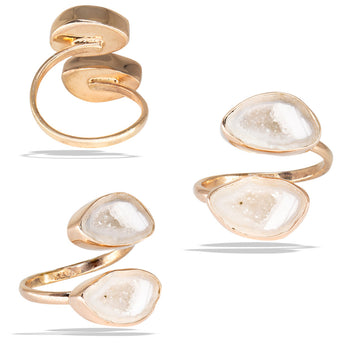 Double Geode Bezel Rose Gold Infiniti Fine Ring